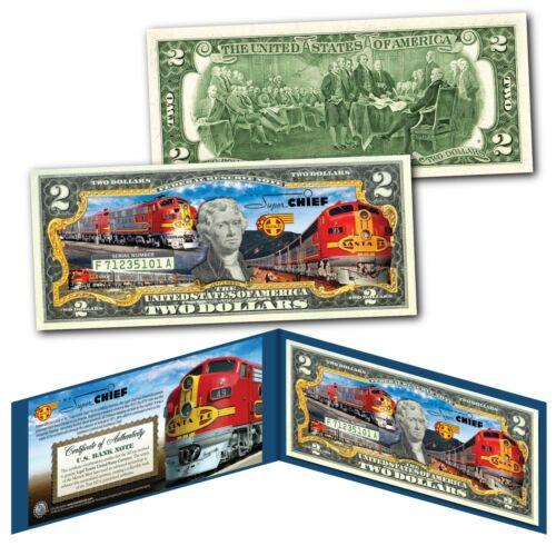 SUPER CHIEF America/'s Premier Passenger Train of Stars Railroad Genuine $2 Bill
