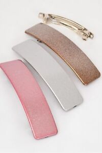 """3 Long WIDE 4.5/"""" Hair Barrettes Frosty FAVORITE French secure clasps Silver Pink"""
