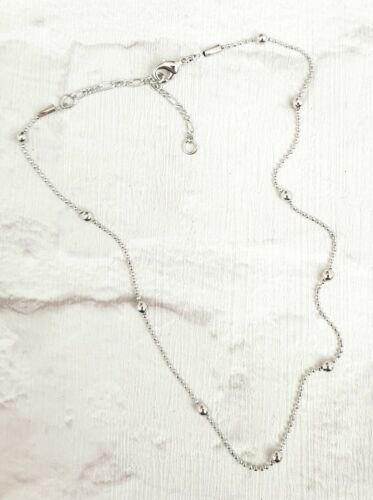 """WHITE METAL SILVER TONE DELICATE CHOKER NECKLACE WITH SILVER BEADS 14/"""""""