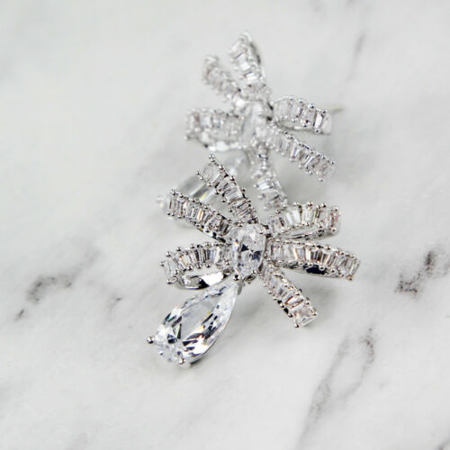 925 Sterling Silver Bowknot Elements Crystal Dangle Drop Stud Stunning Earrings