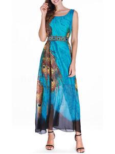 Belle-Femme-Casual-Sans-manche-Floral-Printed-Party-Club-Plage-Maxi-Robe-Plus