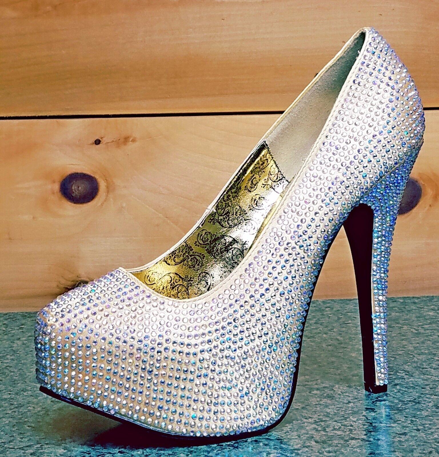 basso prezzo del 40% Teeze Teeze Teeze 06R Iridescent Rhinestone Platform Pump oro Satin scarpe Dimensione 11  nuovo sadico