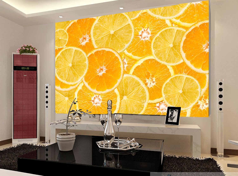 3D Golden Oranges 74  Wall Paper Murals Wall Print Wall Wallpaper Mural AU Lemon