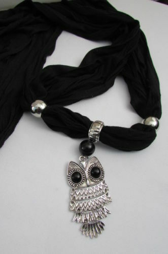 Women Black Scarf  Fashionable Necklace Super Soft Fabric Owl Pendant Charm