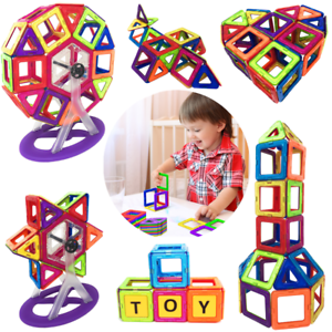 Educational Magnetic Building Blocks 3D Construction Tiles 110 Set Fun Toys Kids