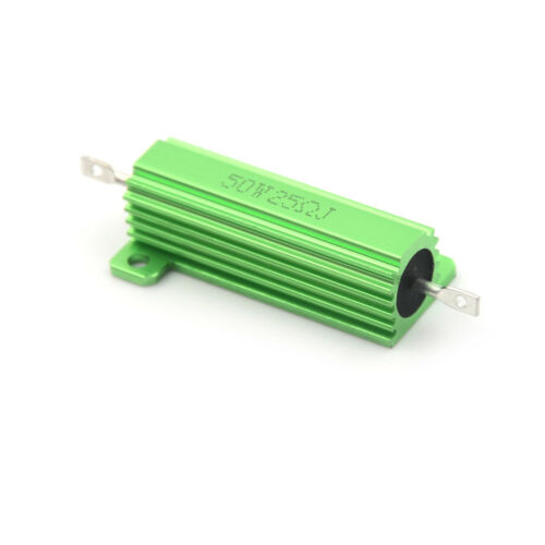 Aluminum Case 50W 25 Ohm Chassis Mounted Wirewound Resistor Green RS