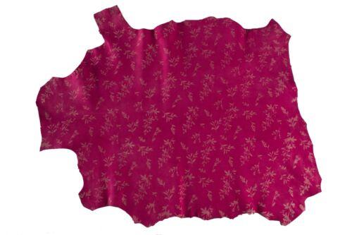 Cabra Suede Ocultar Piel Italiana pieles oculta Frambuesa Roja Violeta Flores #400