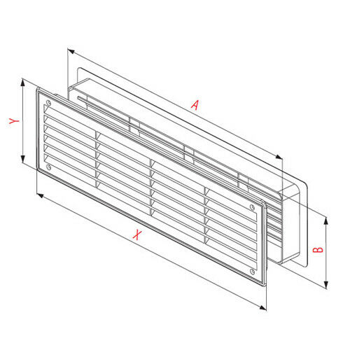 Bathroom Door Air Vent Grille 455mm x 135mm Two Sided Ventilation Cover T15