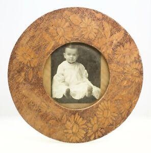 Antique-Handmade-Round-Wood-Frame-Americana-Folk-Art-Carved-Signed