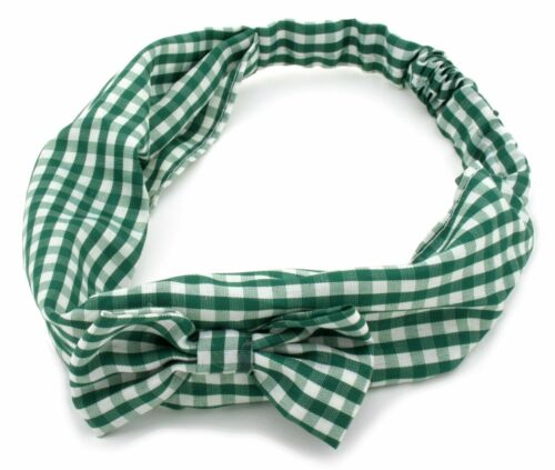 Zest Gingham Check Headband With Bow Hair Accessories Green /& White