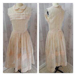 d529eba188 La imagen se está cargando Estilo-Eduardiano-Vintage-Organza-Vestido -Transparente-Colorete-Rosa-