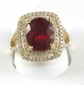 Ovalado-Rojo-Gema-Rubi-Anillo-Solitario-con-Diamante-Halo-14k-Oro-Amarillo