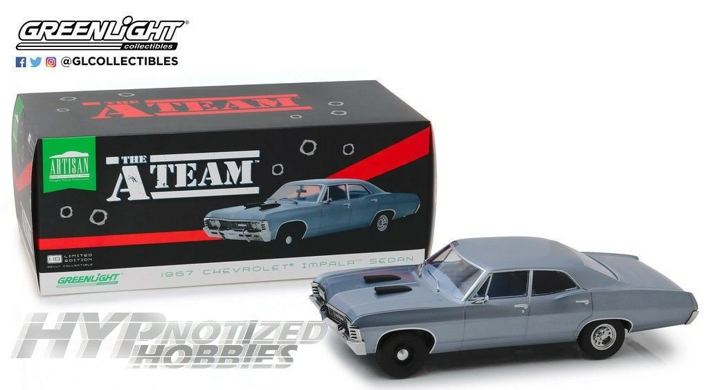 Luz green 1 18 The A-Team 1967 Chevrolet Impala Deporte Sedan Die-Cast blue