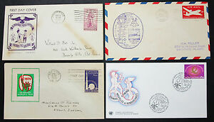US-Postage-Set-of-4-Illustrated-Covers-Letters-World-039-s-Fair-FDC-USA-H-8275