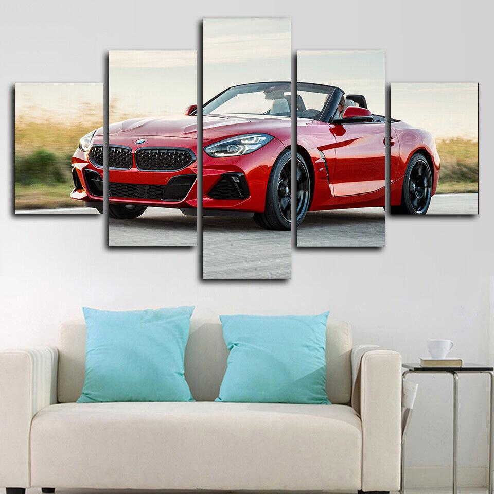 Framed BMW Z4 M40i Sports Car Poster 5 Piece Canvas Print Wall Art Decor