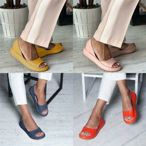 Fashion-Womens-Casual-Peep-Toe-Indoor-Sandals-Low-Flat-Wedge-Slippers-Shoes-Size