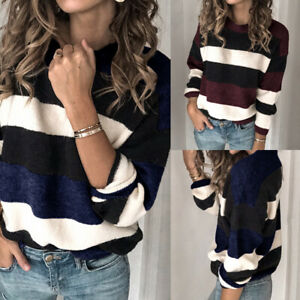 Women-Ladies-Long-Sleeve-Knit-Tops-Pullover-Color-Block-Sweater-Jumper-Plus-Size