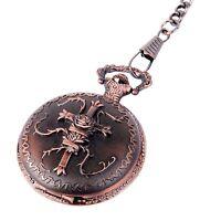 Pocket Watch Cross Motif Bronze Case & Chain Full Hunter Celtic Steampunk Design
