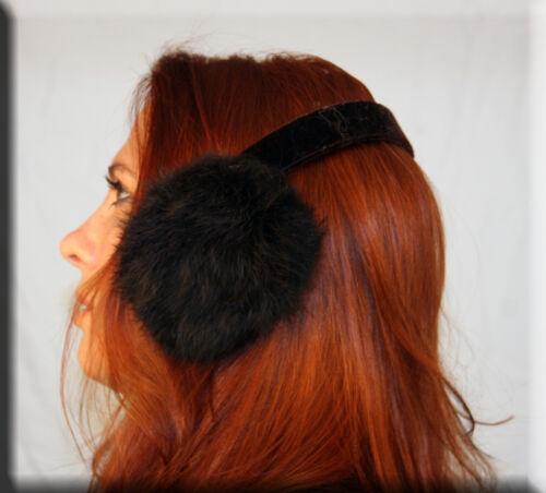 Efurs4less New Brown Rabbit Fur Ear Muffs Velvet Band