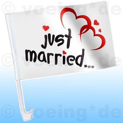 20x Autofahne Just Married Motiv Ballons Auto Fahne Flagge Hochzeit Justmarried