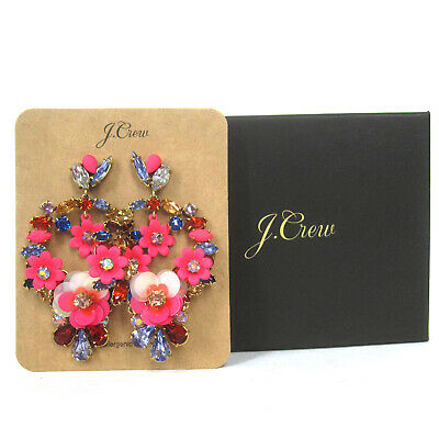 JCREW WARM PINK FLORAL STATEMENT EARRINGS--NEW WITH TAG--SRP $65