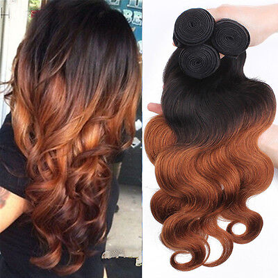 3 Bundles Brazilian Virgin Body wave Real Human Hair Extesions 150g Ombre weft