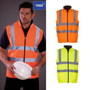 Yoko-Hi-Vis-Uomo-Gilet-Imbottito-in-Pile-Reversibile-HV008F-Gilet-di-sicurezza-Work-Wear