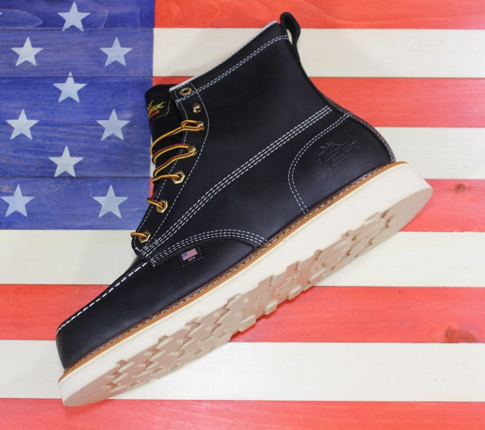 Thorogood American Heritage 6  Puntera de Acero Plataforma Negro botas [804-6201