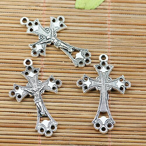 9pcs tibetan silver tone crucifix charms EF1963