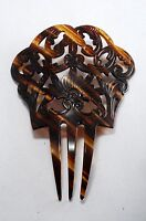 Vintage Fan Hair Comb Large Faux Tortoise Brown Unmarked Fancy Carved Design