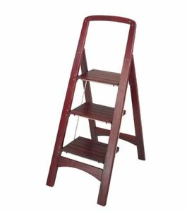Cosco Rockford 3 Step Mahogany Wooden Folding Stylish Home Stool Ladder