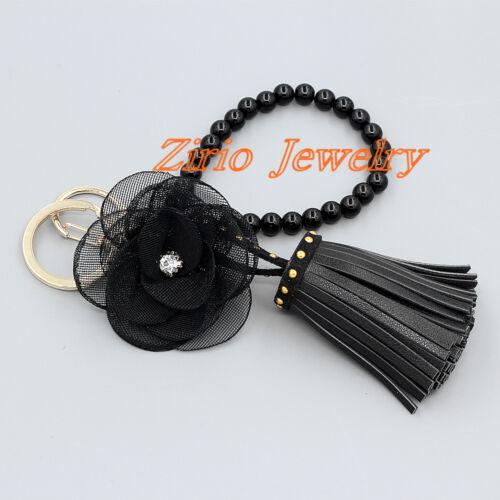 Womens Leather Tassel Flower Key Chain Purse Bag Keyring Handbag Clutch Wristlet Clothing, Shoes & Accessories