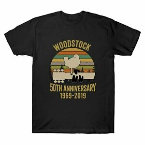 Woodstock-50Th-Anniversary-1969-2019-Music-Vintage-T-Shirt-Men-039-s-Cotton-Tee