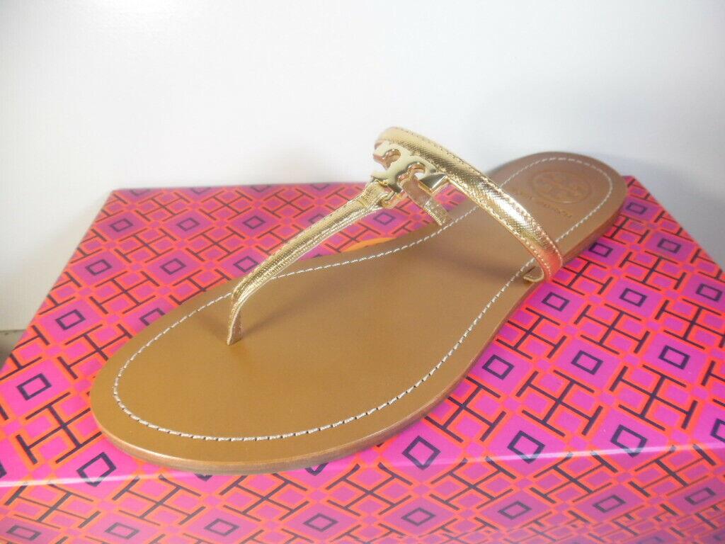 Tory Burch gold T Logo Flat Sandal Size  9.5 NIB