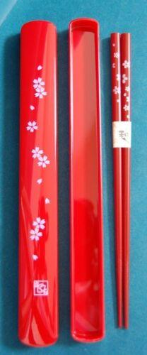 Red Japanese Travel Chopsticks with Case Sakura S-3686