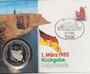 Numisbrief-1952-Rueckgabe-Helgolands-1994-70-Pfg-Briefmarke-Stempel-Helgoland