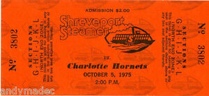 1975-Shreveport-Steamer-Houston-Texans-vs-Charlotte-Hornets-Unused-Ticket