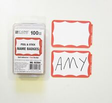 100 Red Border Badges Name Tags Labels Id Stickers Peel And Stick Adhesive