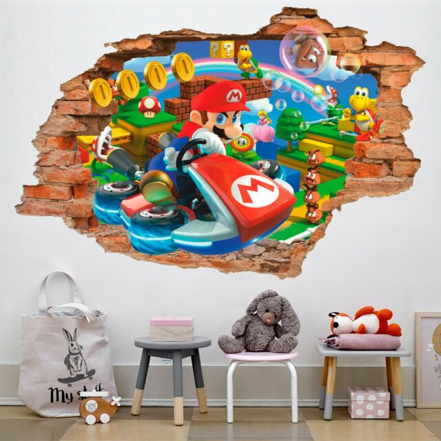 Amazon Com Limado Super Mario Bros Mural Wall Decals Sticker Pvc Removable Wall Stickers Kids Room Decoration Home Kitchen