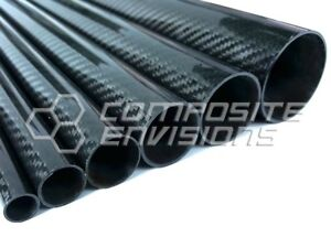 """Roll Wrapped Carbon Fiber Tube Twill Weave Gloss Finish - 1.5"""" OD - 48"""" long"""