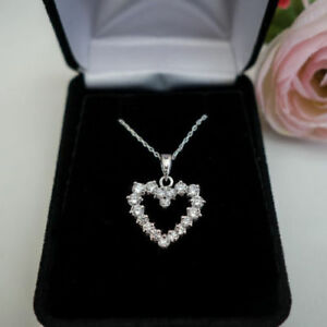 14k White Gold Over 2.20 Ct Round Cut Diamond Swirl Pendant Necklace For Women/'s