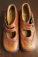 Vintage Dr Martens A8367 Tan 2 Buckle Mary Jane Shoes Brown Bogues Made in Eng