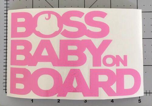 Boss Baby on Board Car Sticker Pink