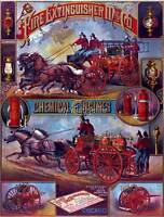 Vintage Fireman Fire Fighter Fire Wagon Quilting Fabric Block 8x10