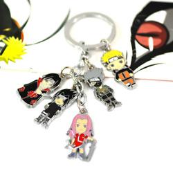 Naruto schlüsselanhänger mit 5 Mini Chibi Figuren Kakashi  Sasuke Itachi Sakura