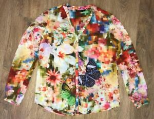 Desigual-ladies-womens-multicolor-floral-shirt-blouse-size-M