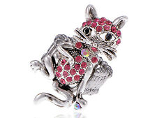 Pewter Silver Tone Cocky Cool Bow Tie Whisker Cat Pink Crystal Rhinestone Ring