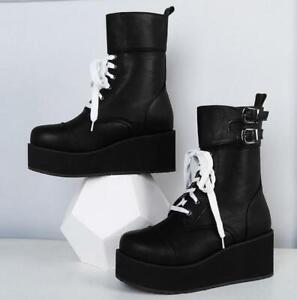 Womens-Gothic-Platform-Wedge-Heels-Creeper-Shoes-Lace-Up-Punk-Ankle-Boots-Zhou8