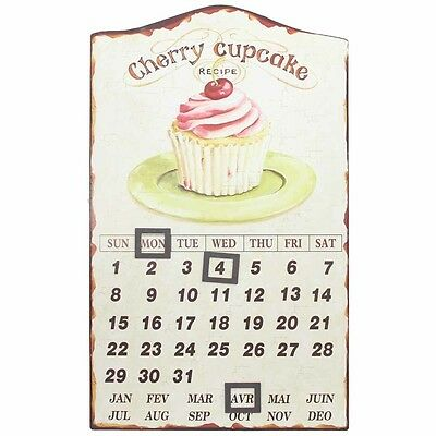 40cm Euro Vintage Style Cherry Cupcake Steel Magnetic Calander w/ Magnets