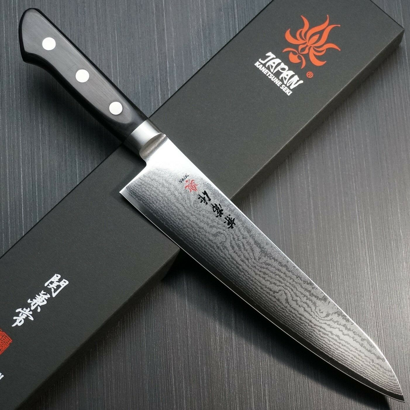 japanese kanetsune seki damascus vg10 chef knife gyuto 210m kc 102 japan kitchen ebay. Black Bedroom Furniture Sets. Home Design Ideas